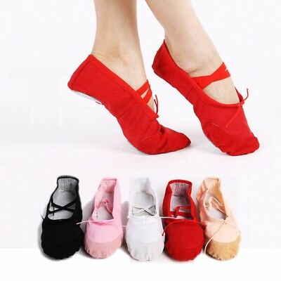 Soft Canvas Ballets Dance Split Flat Shoes Gymnastics Yoga Belly Dancing Shoes