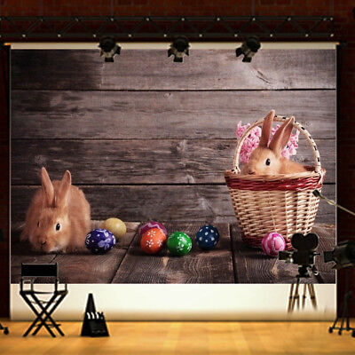 7x5FT Cute Rabbits Easter Egg Wood Floor Background Photography Studio Backdrop