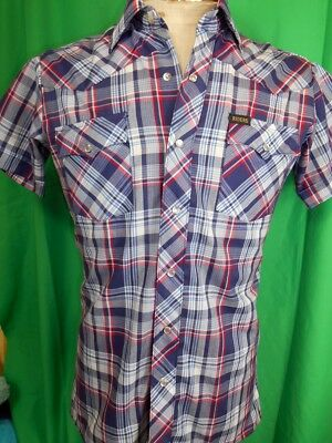 Vintage Bright Red White Blue Short Sleeve Riders Western Shirt Pearl Snaps S
