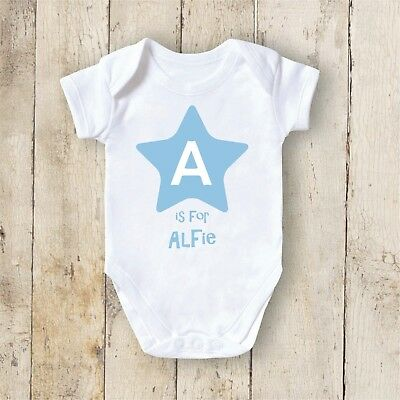 Personalised Baby Grow Christening Bodysuit With Your Text Newborn Gift Star