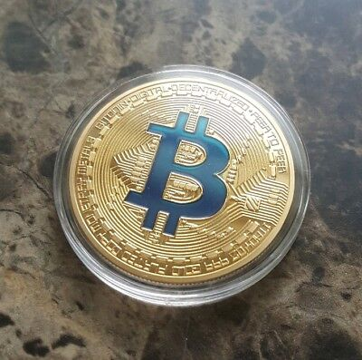 1oz 24k GOLD Plated Copper Physical BITCOIN Crypto Coin Round - FREE SHIPPING!