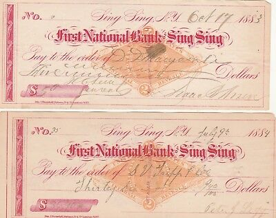 Two (2) Antique Checks First National Bank, Sing Sing, Ny 1883 & 1884 Revenues