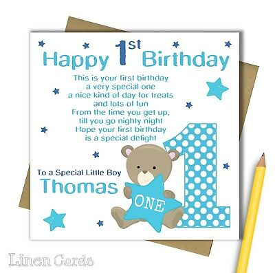 Personalised watercolour bunny 1st birthday card son grandson godson personalised 1st card godson son grandson nephew boy 1 first 1st birthday card bookmarktalkfo Images