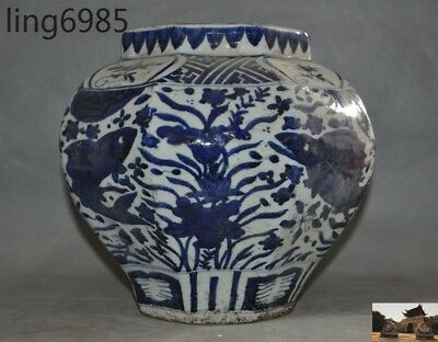 Old Chinese Blue & White porcelain lotus fish statue Tanks Crock Bottle Pot Jar