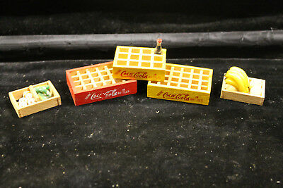 5 Vintage Wood Minature Coca-Cola Crates And Bottle And Produce Crates Wooden