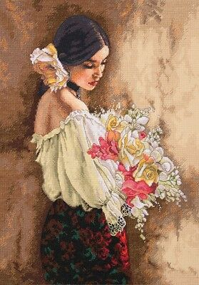 "DIMENSIONS GOLD COLLECTIONS""WOMEN WITH BOUQUET""CROSS STITCH KIT  Kreuzstich"