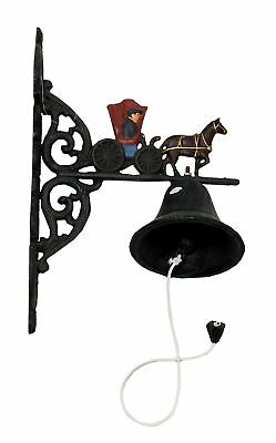 """R & W Cast Iron Horse & Buggy Hanging Dinner Bell, 13"""" Hanging Back Plate"""