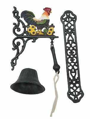 "R & W Cast Iron Rooster Hanging Dinner Bell, 13.5"" Hanging Back Plate"