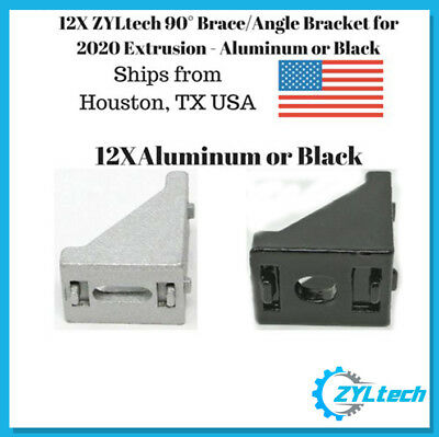 12X 90° 20x28 Corner Brace/Angle Bracket for 2020 Extrusion - Aluminum or Black