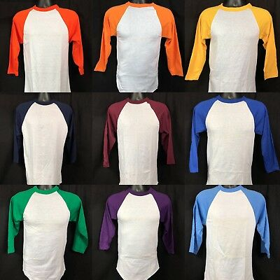 Vintage Raglan T-shirt Deadstock 50/50 Russell Athletic Made In USA Baseball