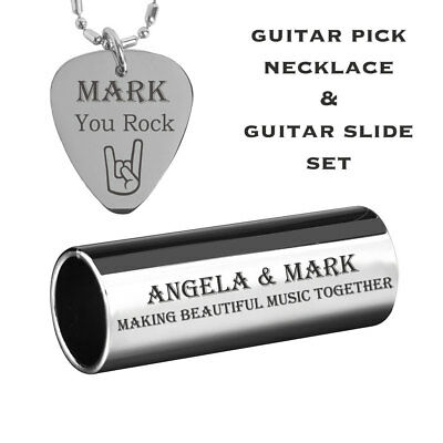 Personalized Stainless Steel Guitar Slide & Guitar Pick Necklace Engraved Free