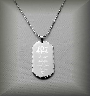 Personalized Stainless Steel Scalloped Edge Dog Tag Necklace Engraved Free