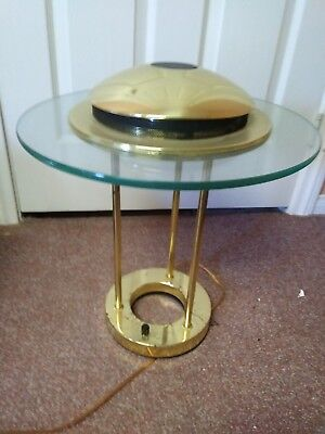 Beautiful Modern Mid-Century Flying Saucer Shape Brass And Glass Desk/table Lamp