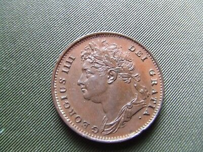 GEORGE IV.    1825, FARTHING.  1st TYPE LAUREATE HEAD.  SUPERB MINT CONDITION.