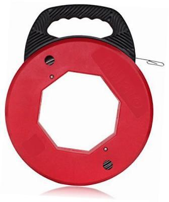 200 foot reach, spring-steel fish tape reel, with high impact case, for