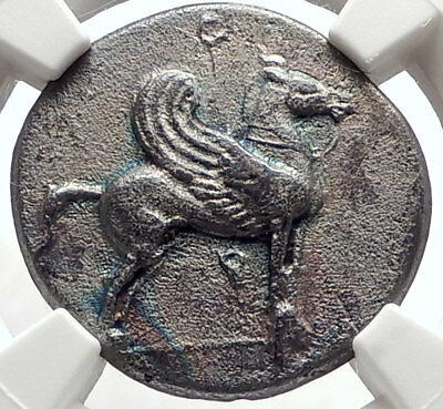 CORINTH Ancient 405BC Silver Greek Stater Coin ATHENA & PEGASUS NGC XF i66892