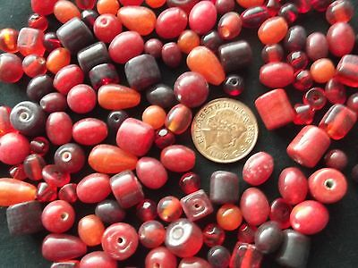 Job lot of mixed sized red glass beads  100 gms