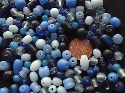 Job lot of mixed sized  blue  glass beads  100 gms