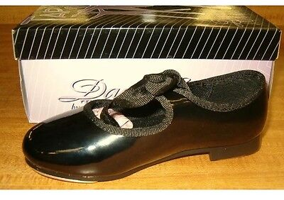 Girls Size 11 Black Mary Jane Tie Tap Dance Shoes New In Box !