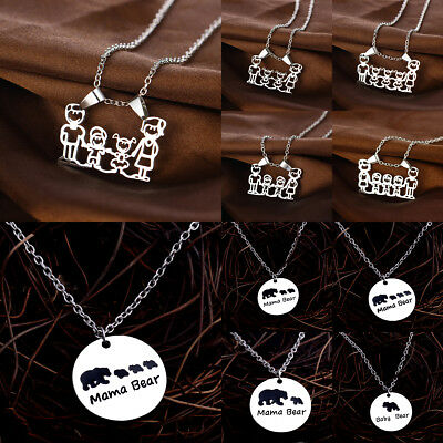 Charm Parent Chidren Mama Bear Necklace Pendant Jewelry Baby Kid Mom Dad Gift