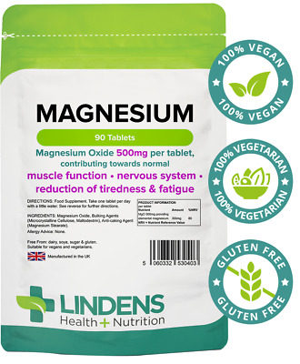 Lindens MAGNESIUM Oxide 500mg 90 Tablets TIREDNESS & Fatigue