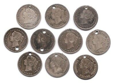 Canada 5 Cents 1858 1870 Nar & Wide 1871 1872 H 1874 H 1880 H 1882 H 1886 1887