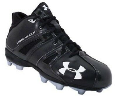 New Under Armour Demolish Mid Football/Lacrosse Cleats - Black/Silver - Sz 10.5