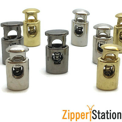 METAL Cord Locks with Spring - Stopper Toggle Lock Ends - Gold, Silver (5051/52)
