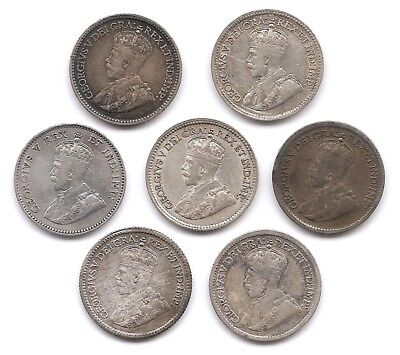 Canada Lot of 7 Silver 5 Cents Coins 1911 1912 1913 1914 1917 1918 1919