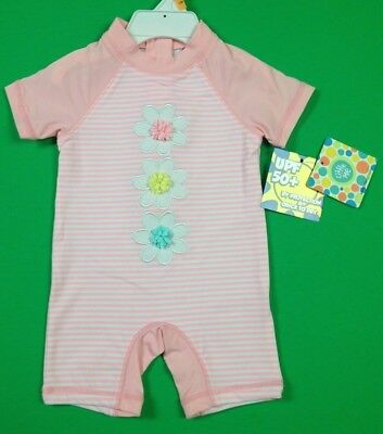 12 Months Baby Girl Swimsuit 1 Piece, UPF 50+, LITTLE ME, Pink Flowers