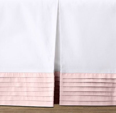 NWOT Restoration Hardware Pleated Percale Crib Skirt Petal Pink Baby Girl