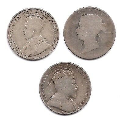 Canada Lot of 3 Silver 50 Cents Coins 1871 H, 1906 & 1913 Victoria, Ed & George!