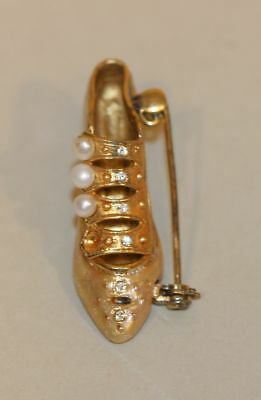 Raine Just the Right Shoe Sterling Silver Gold Enamel & Pearls Pin Brooch