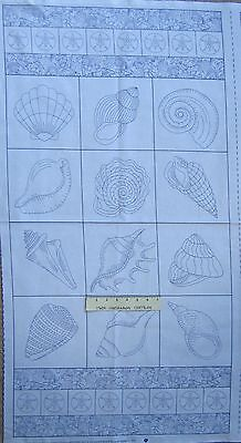"23/"" Nautical Fabric Panel Timeless Treasures YARD Blue Seashell Blocks White"