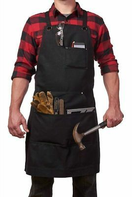 Adjustable Cross-Back Straps Heavy Duty Waxed Canvas Work Apron with Tool Pocket