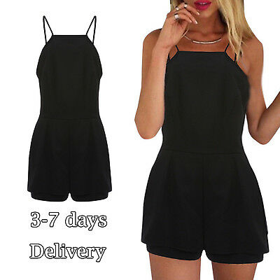 Womens Jumpsuits Overalls One Piece Backless Black Mini Shorts Summer Casual US