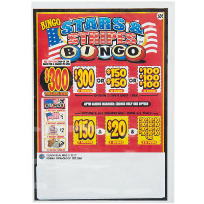 """""""Bingo Pack"""" 1 Window Pull Tab 960 Tickets Payout $360    MADE IN THE USA"""