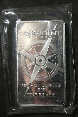 "One (1) Provident 10 Oz 0.999 Fine Silver Bar  ""sealed""  Lot 261127"