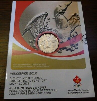 """Canada 2008 First Day $1 Coin """" Lucky Loonie """""""
