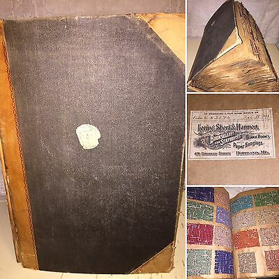 Giant Vintage Antique Wool Fabric Tailor's Sample Book 1931 Textile History