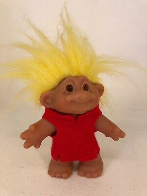 Vintage DAM Troll Doll - 1986 - Yellow Hair with Red Felt Top