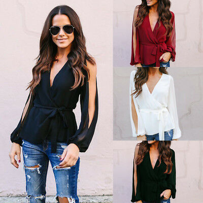 Sexy Women V Neck Long Sleeve Blouse T Shirt Ladies Casual High Waist Lacing Top