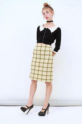 Vintage 60's Retro Cream Plaid TARTAN CHECKERED Pure WOOL Pencil Skirt AUS 8 XS