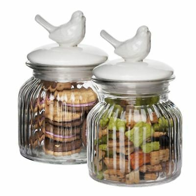 Benzer - Critters Glass Storage Jar with Airtight Ceramic Lids Set of 2 650ml 11