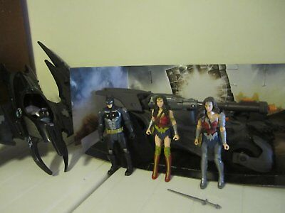 justice league batman, wonder woman, batmobile figures