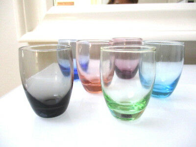 Set of 6 Vintage Murano Glass Shot Glasses - Hand Blown Assorted Colours