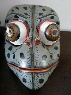 OLD HAND CARVED DEMON & PAINTED VINTAGE WOODEN WALL FACE MASK 18.5 cm TALL DECOR