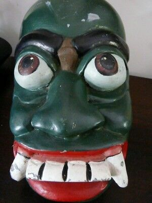 SOLID OLD HAND CARVED & PAINTED VINTAGE WOODEN WALL DEMON FACE MASK- 27 cm TALL