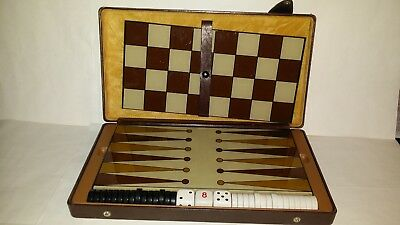 Vintage Travel Backgammon/Checkers Set in Leather Case