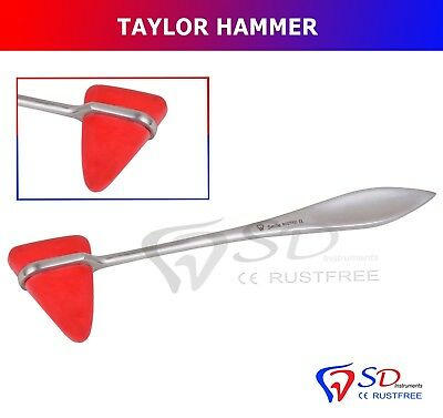 Taylor Hammer Percussion Reflex Tendon Physiotherapy Neurology Rubber Head NEW